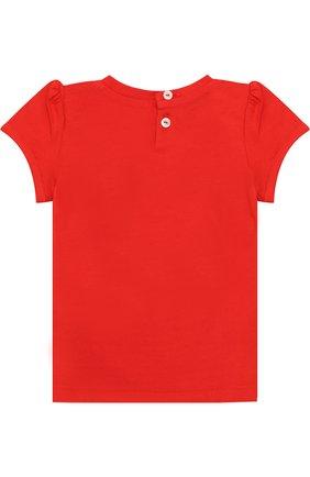 Детский хлопковая футболка с принтом GUCCI красного цвета, арт. 457684/X5M88 | Фото 2