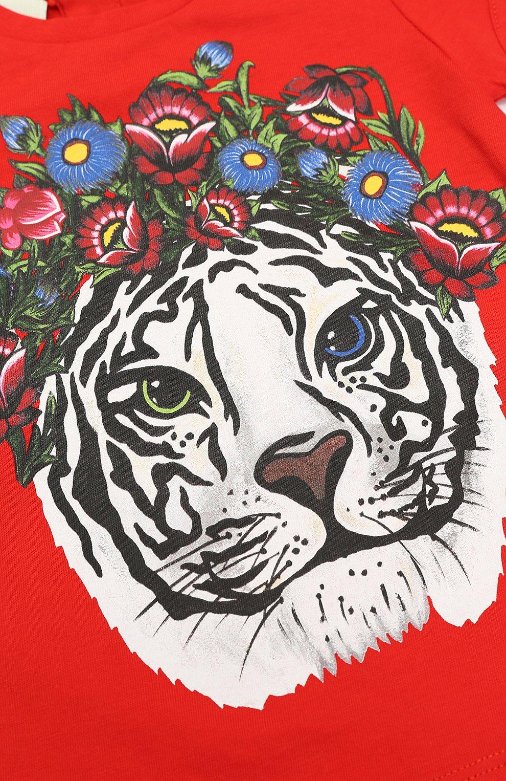 Детский хлопковая футболка с принтом GUCCI красного цвета, арт. 457684/X5M88 | Фото 3