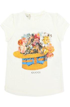Детский хлопковая футболка с принтом GUCCI белого цвета, арт. 457686/X5M91 | Фото 1