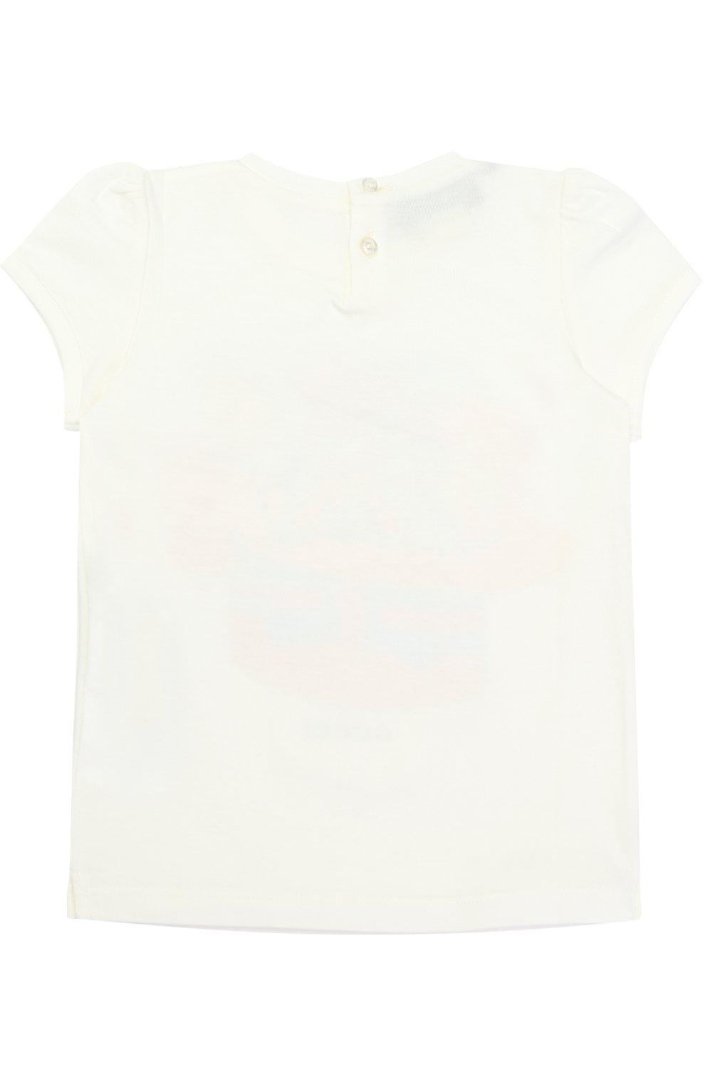 Детский хлопковая футболка с принтом GUCCI белого цвета, арт. 457686/X5M91 | Фото 2