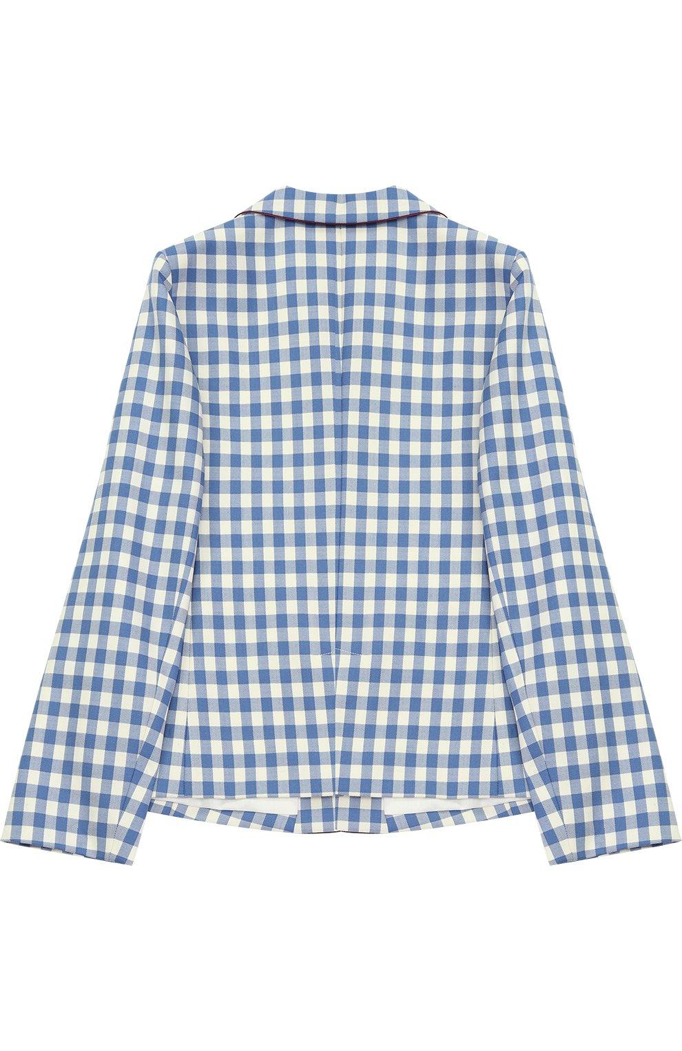 Шерстяной однобортный пиджак в клетку с нашивкой и контрастной отделкой | Фото №2