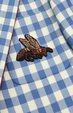 Шерстяной однобортный пиджак в клетку с нашивкой и контрастной отделкой | Фото №3