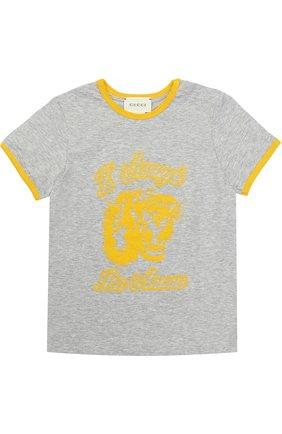 Хлопковая футболка с принтом и контрастной отделкой | Фото №1