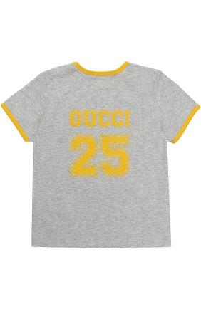 Хлопковая футболка с принтом и контрастной отделкой | Фото №2