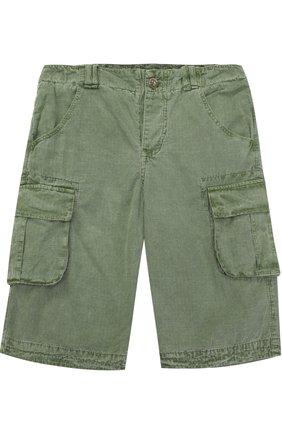 Детские хлопковые шорты с накладными карманами Sticky-Fudge зеленого цвета   Фото №1
