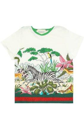 Детский хлопковая футболка с принтом GUCCI разноцветного цвета, арт. 456560/X5L11 | Фото 1