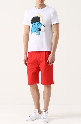 Хлопковая футболка с принтом Anitalian Theory белая | Фото №1
