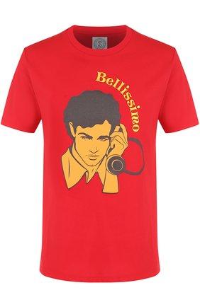 Хлопковая футболка с принтом Anitalian Theory красная | Фото №1