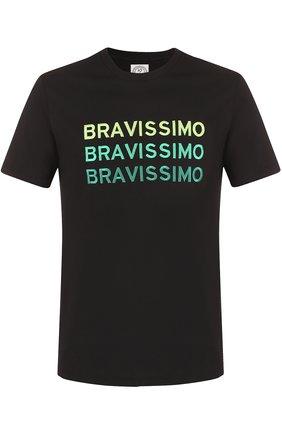 Хлопковая футболка с контрастной вышивкой Anitalian Theory черная | Фото №1
