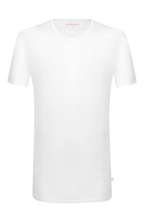 Мужские хлопковая футболка с круглым вырезом DEREK ROSE белого цвета, арт. 8000-LEWI001 | Фото 1