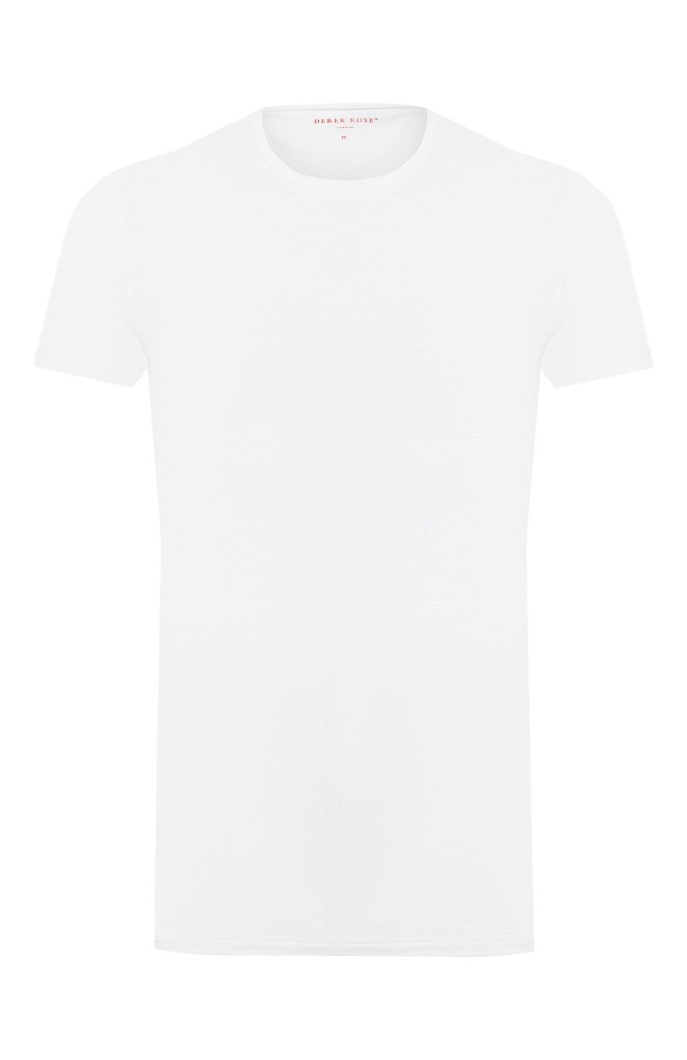 Мужская хлопковая футболка с круглым вырезом DEREK ROSE белого цвета, арт. 8005-JACK001 | Фото 1