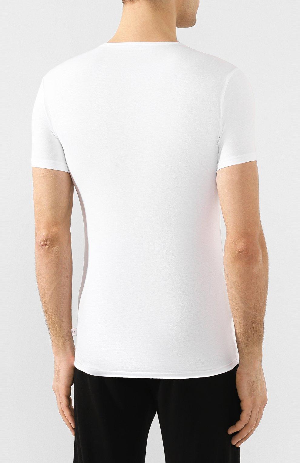 Мужская хлопковая футболка с круглым вырезом DEREK ROSE белого цвета, арт. 8005-JACK001 | Фото 4