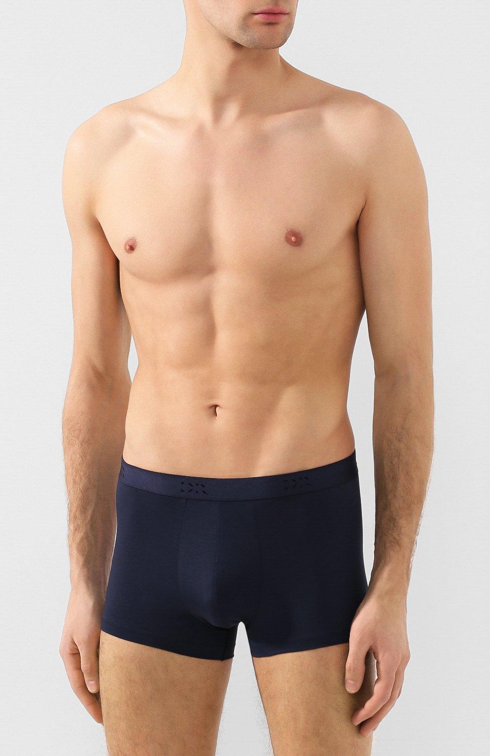 Мужские хлопковые боксеры DEREK ROSE темно-синего цвета, арт. 8565-JACK001   Фото 2 (Кросс-КТ: бельё; Материал внешний: Хлопок; Мужское Кросс-КТ: Трусы)