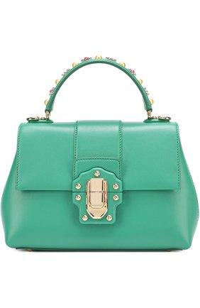 Сумка Lucia small с декорированной ручкой Dolce & Gabbana зеленая цвета | Фото №1