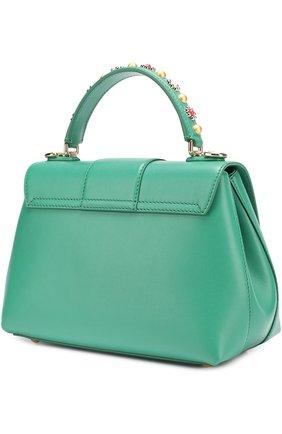Сумка Lucia small с декорированной ручкой Dolce & Gabbana зеленая цвета | Фото №3