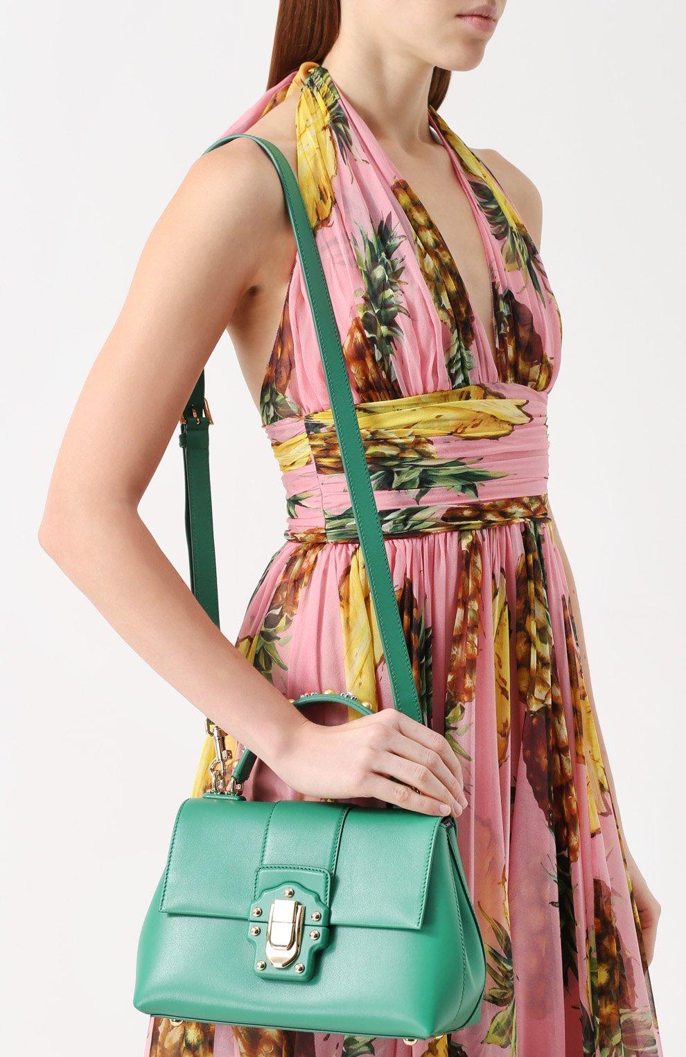 Сумка Lucia small с декорированной ручкой Dolce & Gabbana зеленая цвета | Фото №5