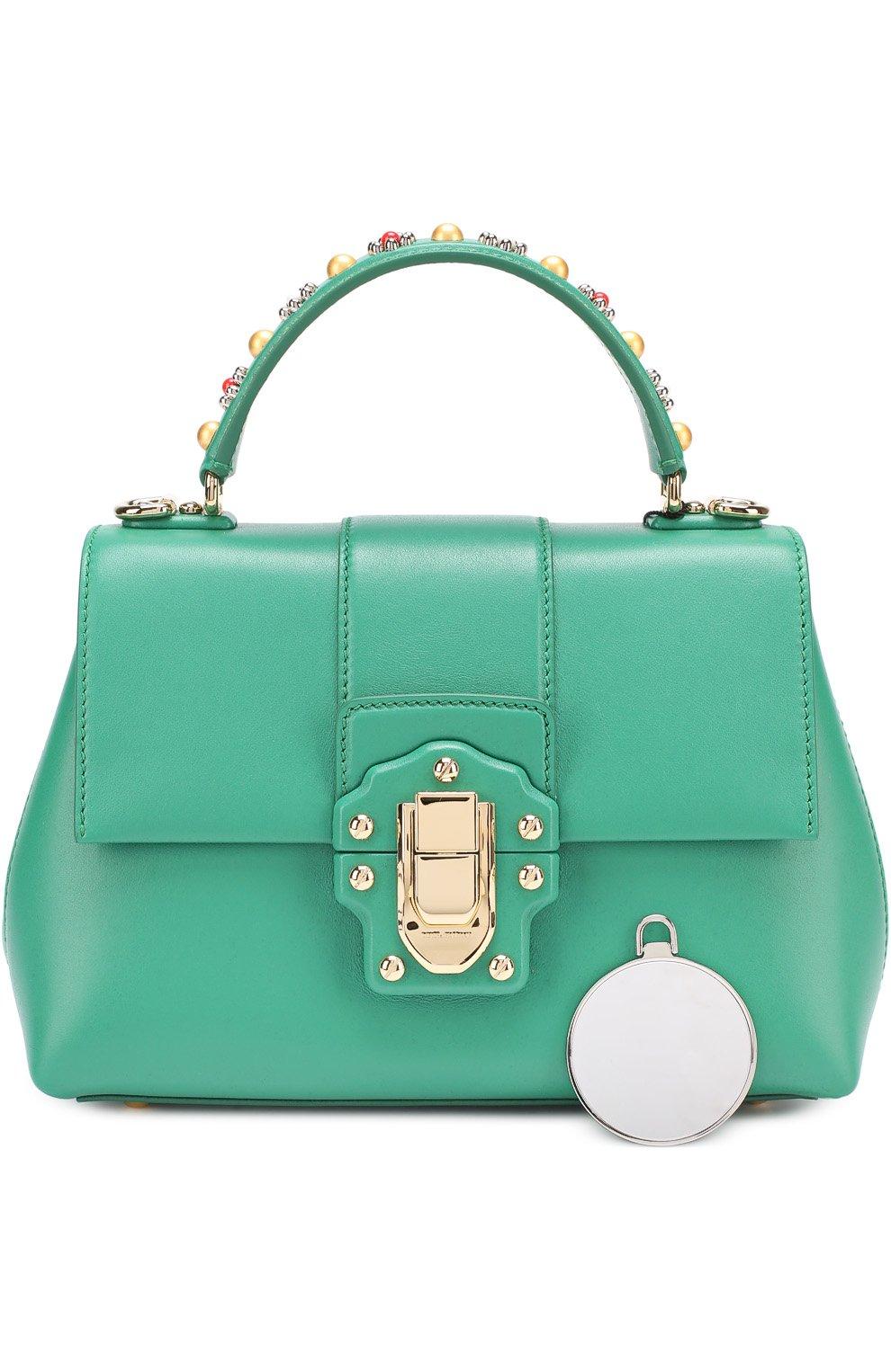 Сумка Lucia small с декорированной ручкой Dolce & Gabbana зеленая цвета | Фото №6