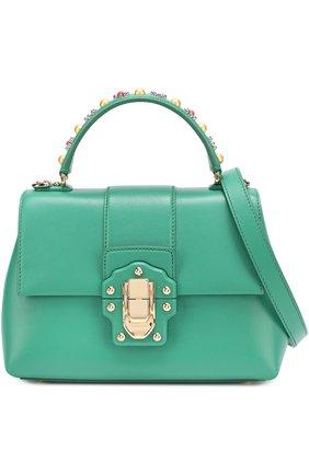 Сумка Lucia small с декорированной ручкой Dolce & Gabbana зеленая цвета | Фото №7
