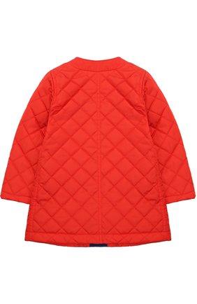 Стеганое пальто с контрастной отделкой и бантом | Фото №2