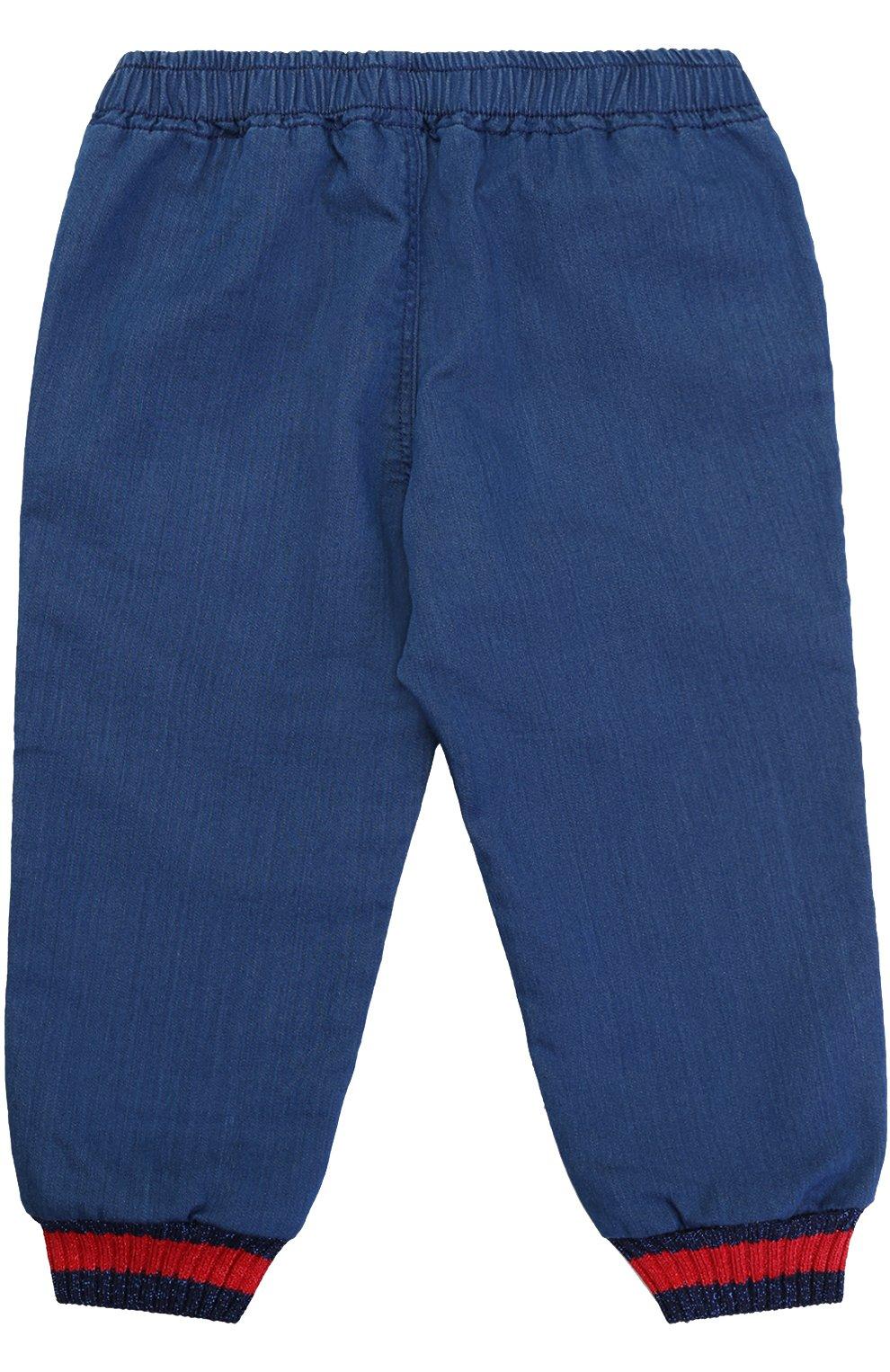 Детские джоггеры из денима и контрастной отделкой GUCCI синего цвета, арт. 456044/X5N35   Фото 2