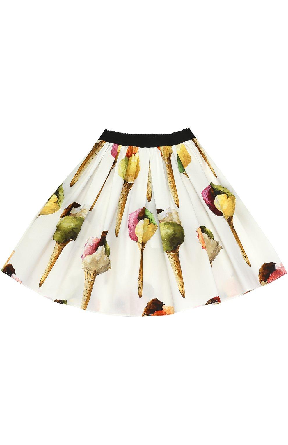 Детская юбка-миди с широким поясом и принтом Dolce & Gabbana кремвого цвета   Фото №2