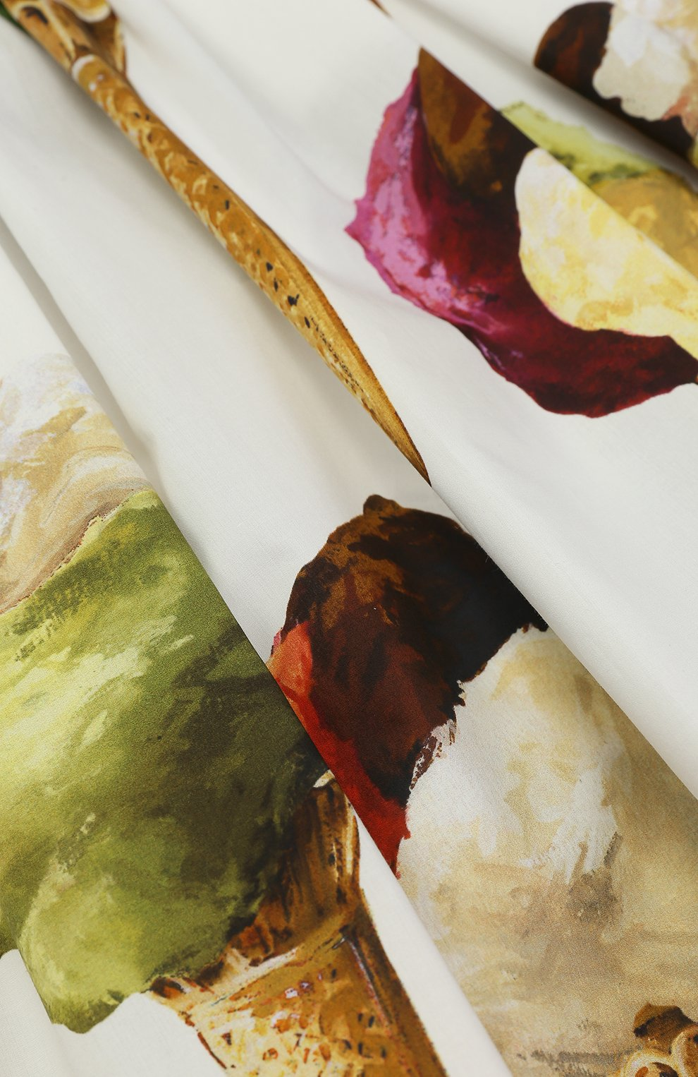 Детская юбка-миди с широким поясом и принтом Dolce & Gabbana кремвого цвета   Фото №3