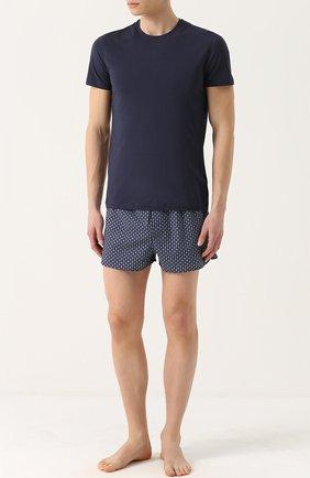 Мужские хлопковая футболка  LA PERLA темно-синего цвета, арт. P022168   Фото 2