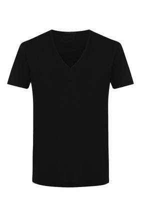 Мужские футболка из смеси хлопка и вискозы с v-образным вырезом LA PERLA черного цвета, арт. 0022507 | Фото 1