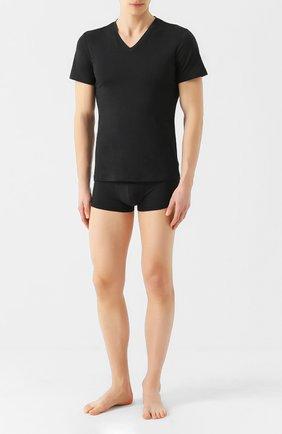 Мужские футболка из смеси хлопка и вискозы с v-образным вырезом LA PERLA черного цвета, арт. 0022507 | Фото 2