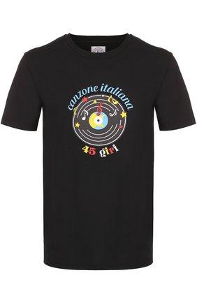 Хлопковая футболка с принтом Anitalian Theory черная | Фото №1