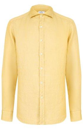 Льняная рубашка с воротником акула Sonrisa желтая | Фото №1