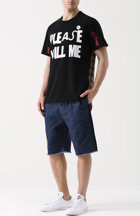 Хлопковая футболка с принтом и контрастной отделкой Sold out черная | Фото №1