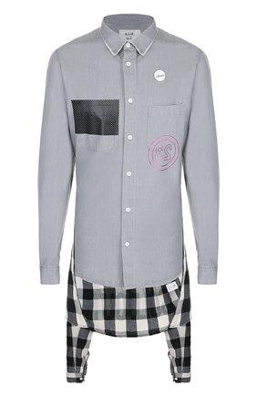 Удлиненная рубашка из смеси хлопка и льна с декоративной отделкой Sold out серая | Фото №1