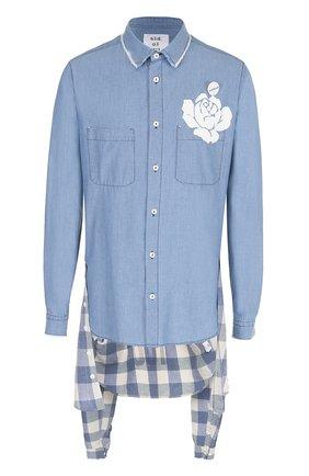 Удлиненная рубашка из смеси хлопка и льна с декоративной отделкой Sold out синяя | Фото №1