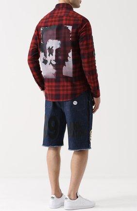 Хлопковая рубашка в клетку с принтом Sold out красная | Фото №1