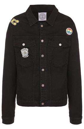 Джинсовая куртка на пуговицах с контрастными нашивками Anitalian Theory черная | Фото №1