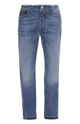 Укороченные джинсы прямого кроя с потертостями Nine in the morning синие | Фото №1