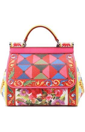 Сумка Sicily small с принтом Dolce & Gabbana разноцветная цвета   Фото №1