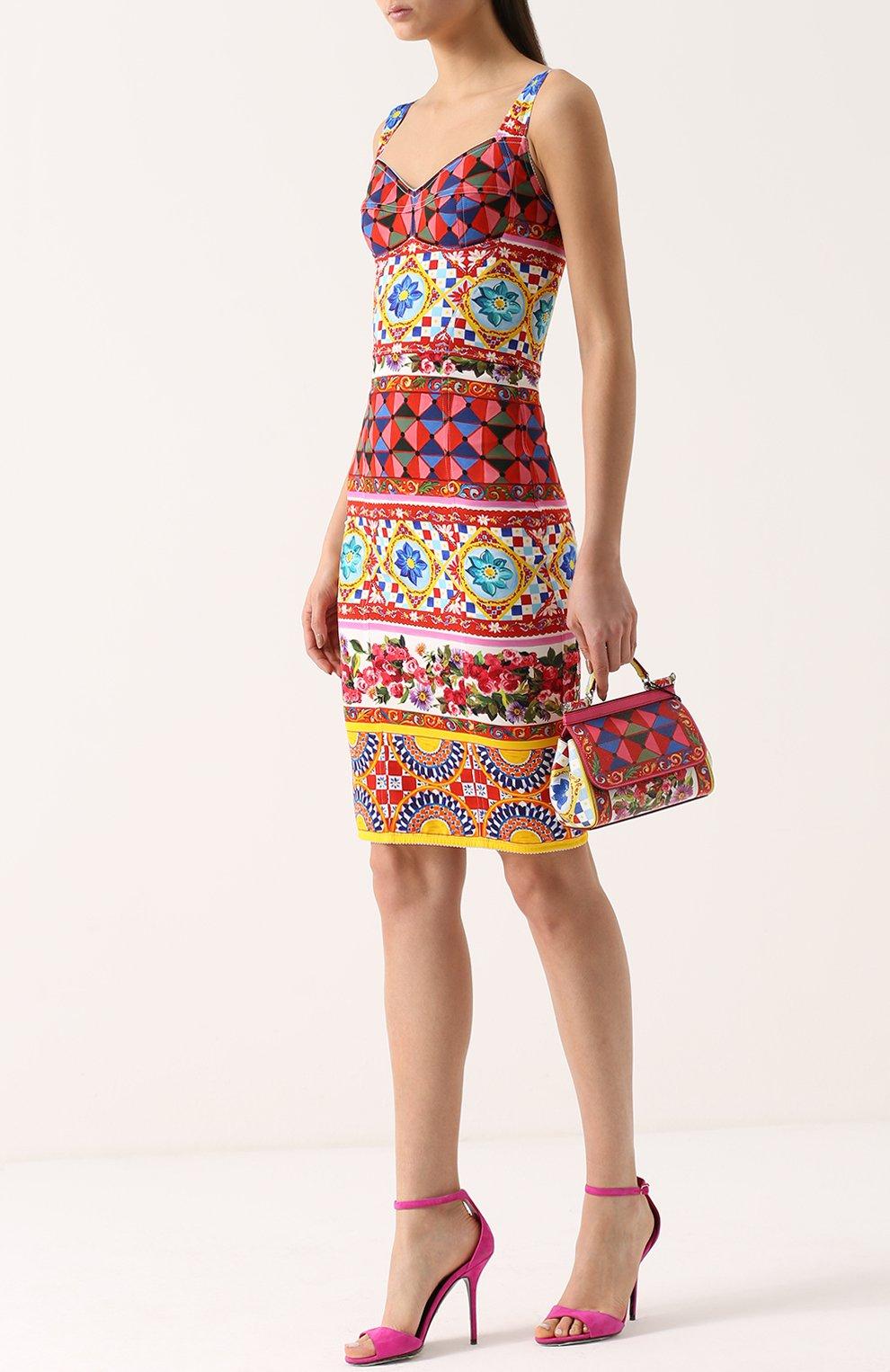 Сумка Sicily small с принтом Dolce & Gabbana разноцветная цвета   Фото №2