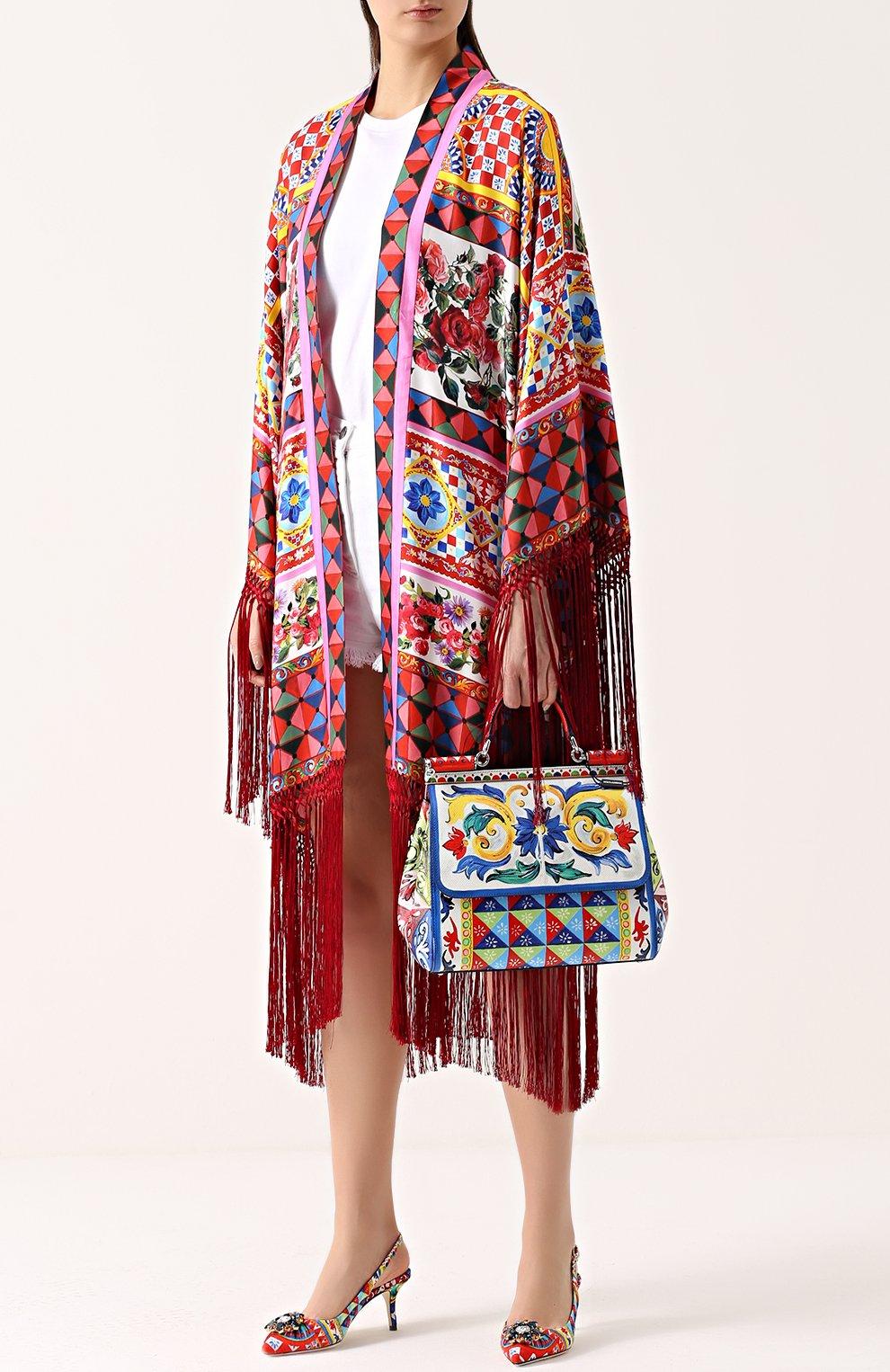 Сумка Sicily medium с принтом Dolce & Gabbana разноцветная цвета | Фото №2