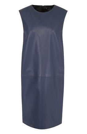 Кожаное платье прямого кроя без рукавов Lanvin синее   Фото №1