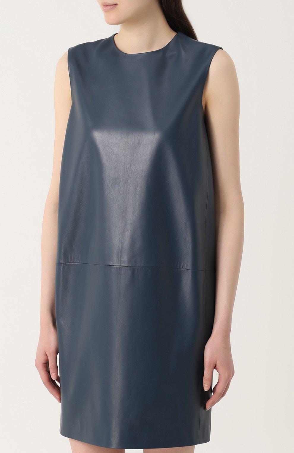Кожаное платье прямого кроя без рукавов Lanvin синее   Фото №3