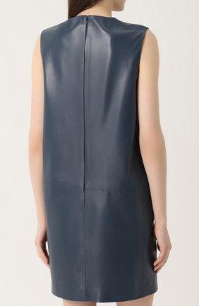 Кожаное платье прямого кроя без рукавов Lanvin синее   Фото №4