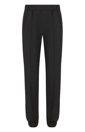 Шерстяные брюки прямого кроя с манжетами на резинке