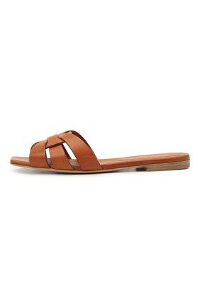 Женские кожаные шлепанцы nu pieds SAINT LAURENT коричневого цвета, арт. 472064/BDA00   Фото 2
