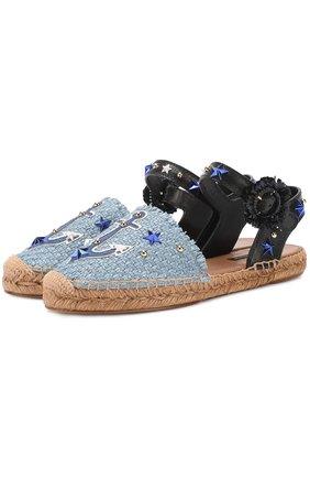Плетеные эспадрильи с аппликациями и заклепками Dolce & Gabbana голубые | Фото №1