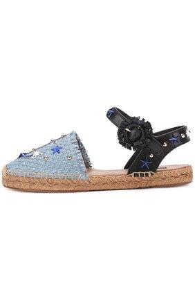 Плетеные эспадрильи с аппликациями и заклепками Dolce & Gabbana голубые | Фото №2