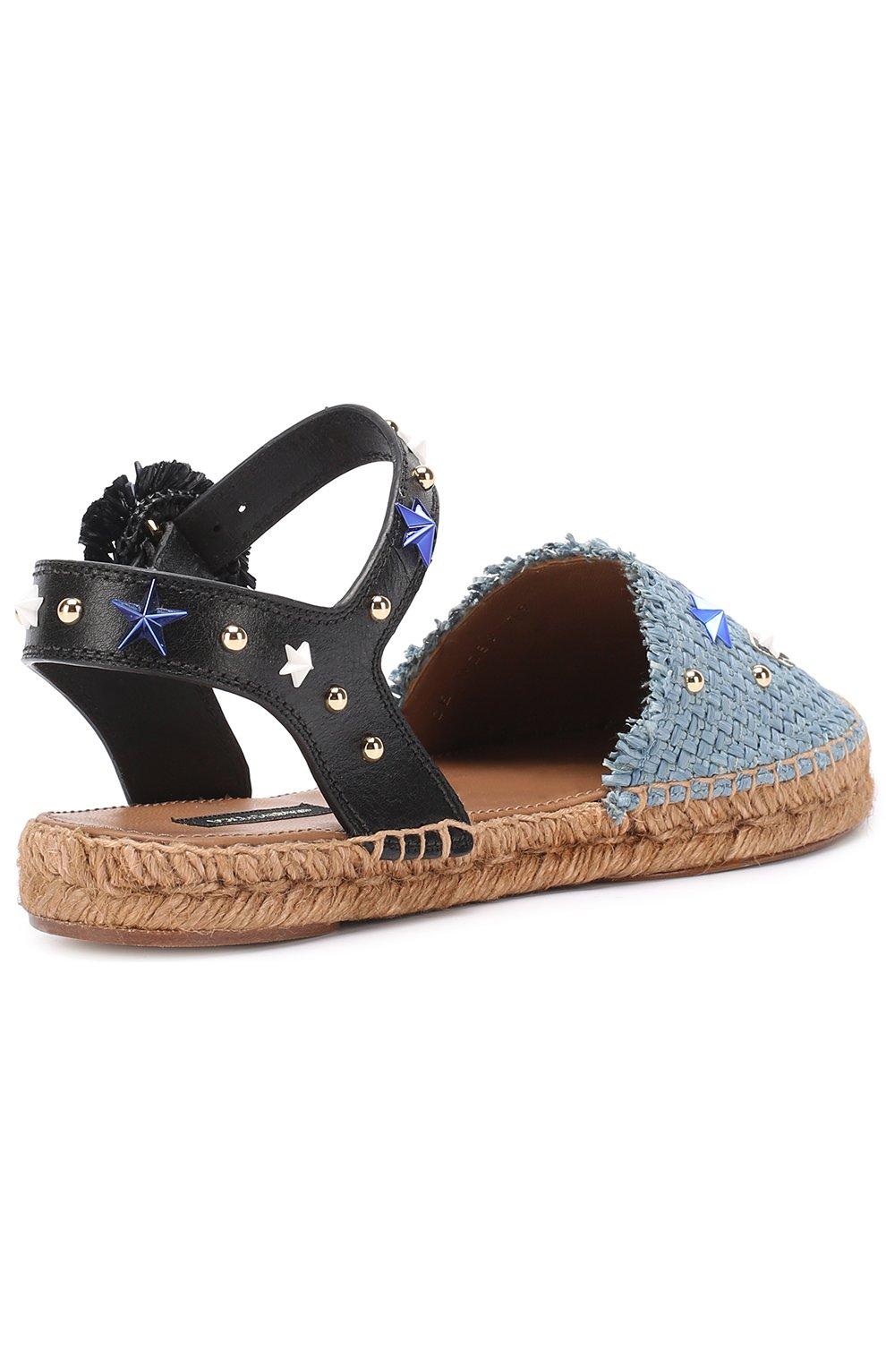 Плетеные эспадрильи с аппликациями и заклепками Dolce & Gabbana голубые | Фото №3