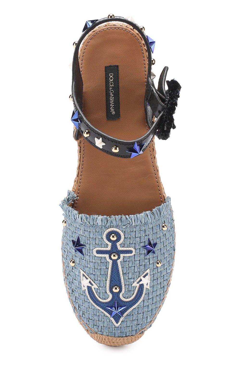 Плетеные эспадрильи с аппликациями и заклепками Dolce & Gabbana голубые | Фото №4