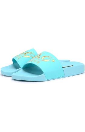 Кожаные шлепанцы с вышивкой Dolce & Gabbana синие | Фото №1